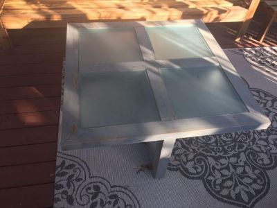 Wood table with glass top