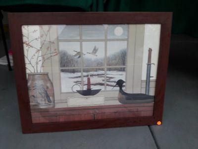 Picture with wood frame
