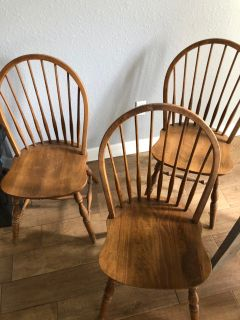 3 Solid Wood Dining Chairs