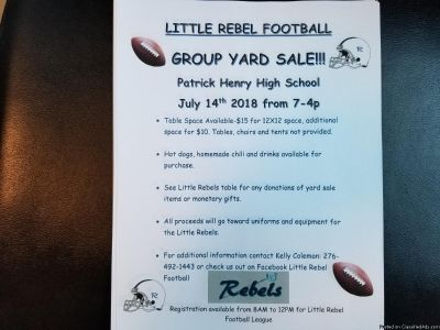 Little Rebel Football Group Yard Sale