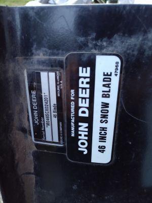 "John Deere 46"" snow blade"