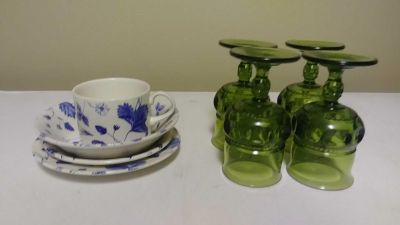 Random dishes and glasses all for 3.00 or 2.00 each set