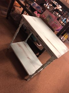 Light baby blue shabbied table. Antique. Wood. Cute decor table or display! Very rustic/shabby chic!
