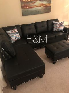 Brand new black small sectional and ottoman