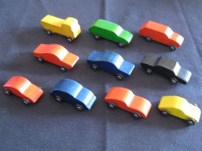 Lot of 10 Vintage Carved Wooden Cars (Architectural Models?)