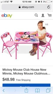 Mini mouse fold out table and chairs
