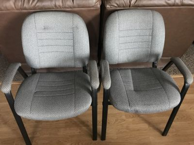 2 x office chairs grey cushioned