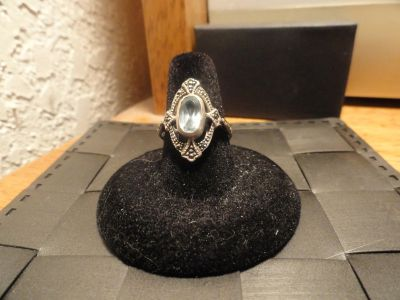Sterling Silver Ring with Aquamarine Stone