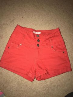 Hot Kiss stretchy high waisted red shorts, size 3