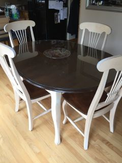 Canadel dining kitchen table chairs glass top solid wood