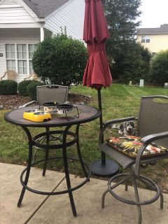 Bar Height Patio Table with 2 chairs & Umbrella with Base (5 piece set)