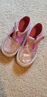Morgan and Milo sparkle pink T-strap tennis shoes