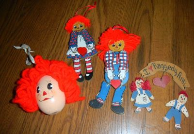 Vintage lot of Raggedy Ann & Andy Wooden Christmas Ornaments