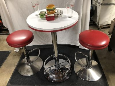 Vintage bar, pub, diner, cafe high table and stools (chairs)