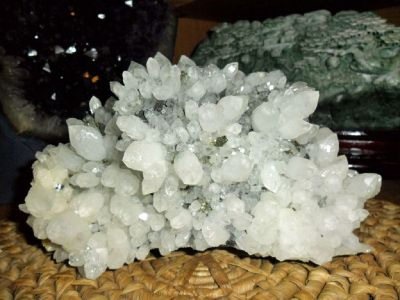 Exceptional and Beautiful Crystal Cluster & Pyrite Crystal on Black Stone
