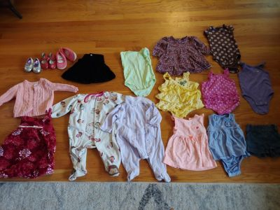 Baby girls size 6-12 month lot of clothes and shoes