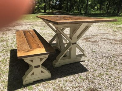 Barnwood Farm Table with One Bench 5x4