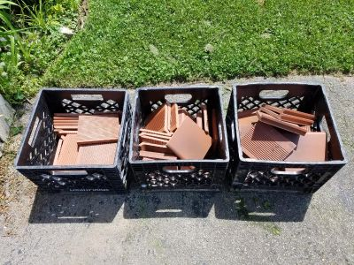 Clay tiles with crates included.