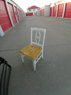 Small wood white chair with gold seat