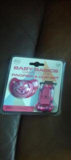 Pink camo pacifier and clip