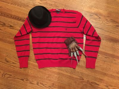 Large Freddy Krueger Sweater, Glove and Hat