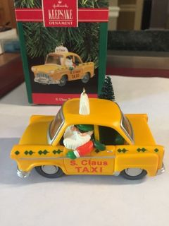 Hallmark S. Claus Taxi Ornament - Dated 1990