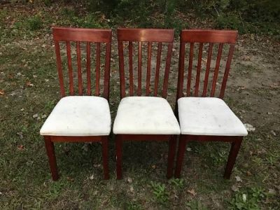 3 Sturdy Solid Wood Wooden Chairs