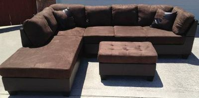 Out of Business Brown Sectional and Two Designer Pillows Brand New