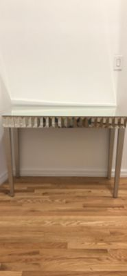 Brushed Silver Mirrored Console Table