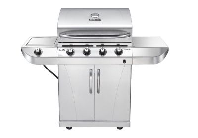 NEW Char-Broil Stainless 4-Burner Gas Grill w/ Side Burner & Cabinet