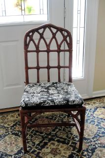 BAMBOO RATTAN ACCENT/DESK CHAIR WITH CUSHION