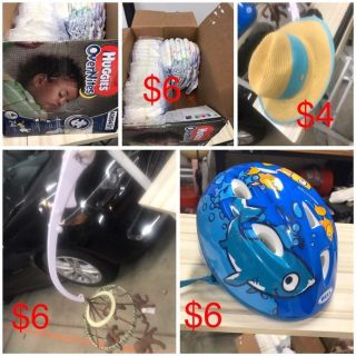 Diapers size 4, infant helmet, mobile
