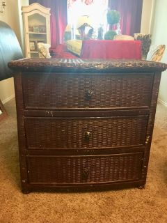 Large Antique Wicker Chest of Drawers
