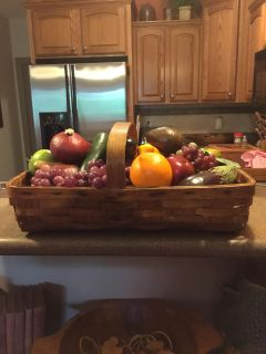 20 Lx12 Wx9 H Antique basket with high quality Fruits & Vegetables. $20
