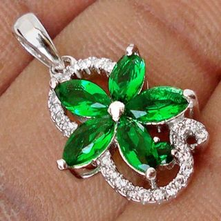 New - Dainty Rare Russian Emerald Flower and White Topaz 925 Sterling Silver Pendant (Includes a...