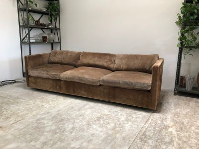Charles Pfister Chocolate Suede Box Sofa for Knoll