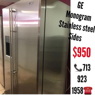 $950, GE MONOGRAM Stainless Steel Side by Side Refrigerator with warranty