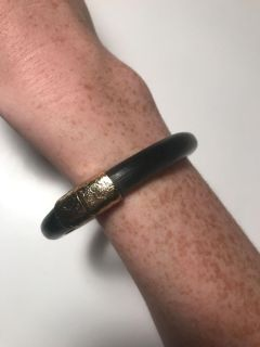 Alexis Bittar Black and gold lucite bangle w/magnetic clasp