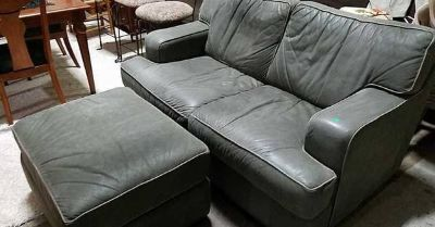 Green Genuine Leather Couch And Ottoman - Delivery Available