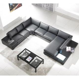 $2,249, Modern Black Leather Sectional Sofa with Built-in Light