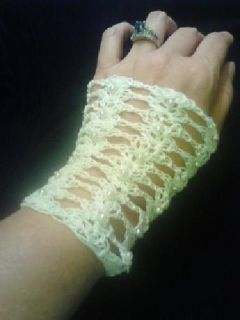 $35 Fingerless crocheted gloves with pearls
