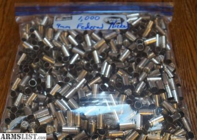 For Sale: 9mm brass, once fired Federal nickel plate, 1,000 pieces