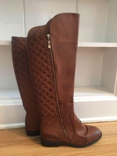 Brown leather quilted riding boots