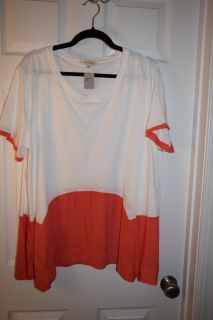 NWT Umgee White with Coral Trim Shirt