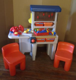 Little Tikes / Tykes Workshop With Tools & Chairs