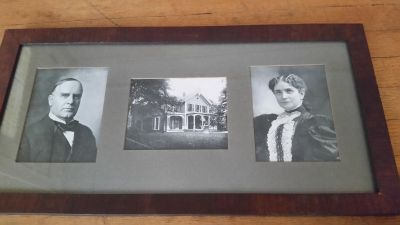 Framed Photo of President McKinley, his home, and his wife from 1901