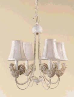 ROOSTER 4 Light Chandelier -With Cream Checkered Shades (Antique Iron)