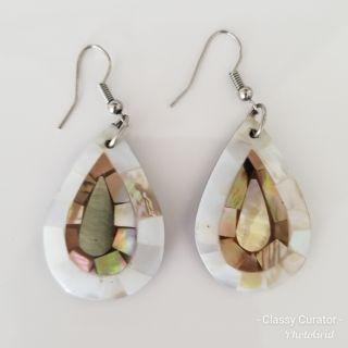 Capiz and abalone shell earrings.