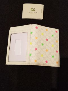 Gucci Supreme Star White Leather Card Holder Bifold Wallet