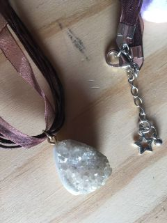 Real Geode Crystal Necklace New